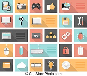 Flat 25 seo, development, social media and computer icons
