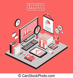 flat 3d isometric business analysis illustration
