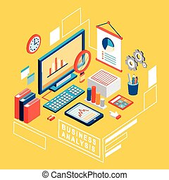 flat 3d isometric business analysis illustration over yellow...
