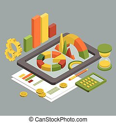 Flat 3d Isometric Business , Chart Graphic vector.