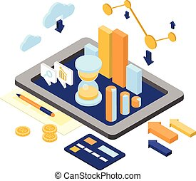 Flat 3d isometric business finance analytics, chart graphic report on tablet web infographic concept