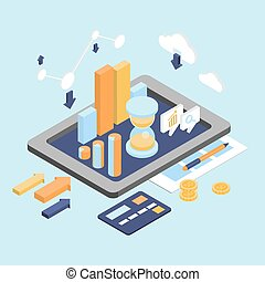 Flat 3d Isometric Business Finance Analytics, Chart Graphic Report
