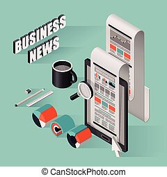 flat 3d isometric business news illustration