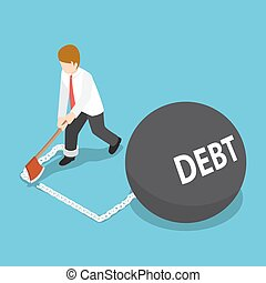 Isometric Businessman Cut Chain with Debt Ball by Axe to Escape