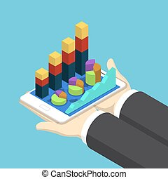 Isometric Businessman Hands Holding Tablet with Financial Chart Graph