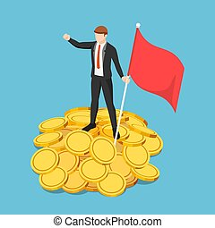 Isometric Businessman Holding Flag and Standing on The Pile of Gold Coin