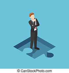 Isometric  Businessman Standing and Thinking in the Missing Part of Jigsaw Puzzle