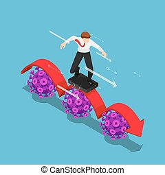Isometric Businessman using Business Bag as a Surfboard Surfing on Red Arrow over Covid-19 Virus