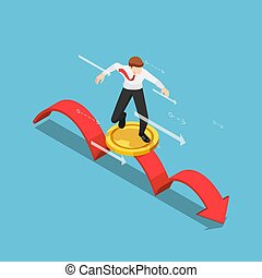 Flat 3d Isometric Businessman using Golden Coin as a Surfboard Surfing on Red Arrow