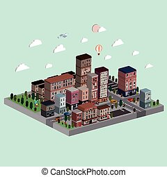 flat 3d isometric city life illustration over bright...