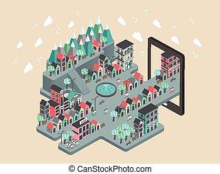 flat 3d isometric city scenery illustration