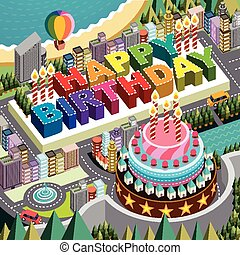 flat 3d isometric city scenery with big birthday cake