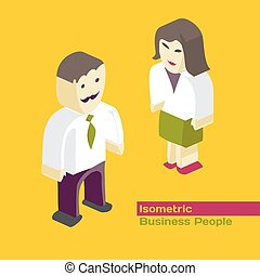 Flat 3d isometric concept web vector illustration. Figures of business people men and women