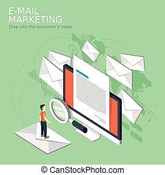 e-mail marketing concept - flat 3d isometric design of e-...