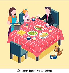 family reunion scene - flat 3d isometric design of family...