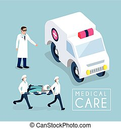 medical care concept - flat 3d isometric design of medical...