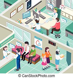 medical clinic interior - flat 3d isometric design of...