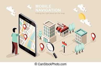 mobile navigation - flat 3d isometric design of mobile ...