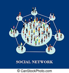 social network - flat 3d isometric design of social network