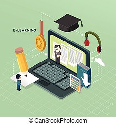 flat 3d isometric e-learning concept illustration