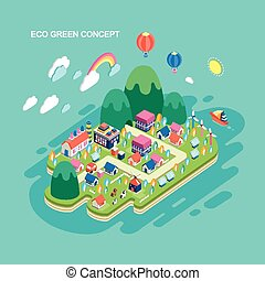 flat 3d isometric eco green concept illustration
