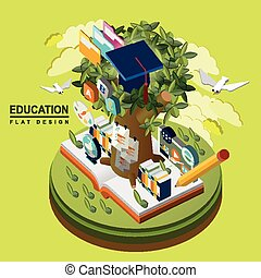 flat 3d isometric education concept illustration over green