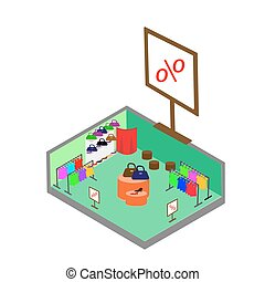 Flat 3d isometric fashion boutique shopping mall sale concept vector. Clothes, clothing, bags, shoes. Shop isometric.
