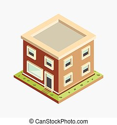 Flat 3d Isometric House - Vector Illustration