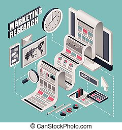 flat 3d isometric marketing research illustration