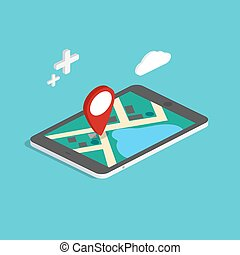 Flat 3d isometric mobile navigation maps infographic. Paper map with marker. Business vector illustration.