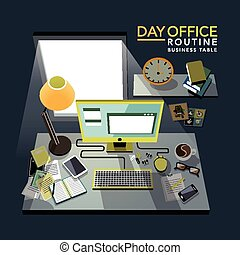 flat 3d isometric office routine illustration