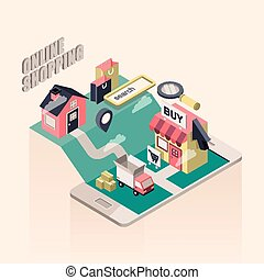 flat 3d isometric online shopping illustration