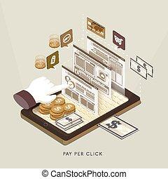 flat 3d isometric pay per click concept illustration