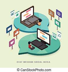 flat 3d isometric social media concept illustration