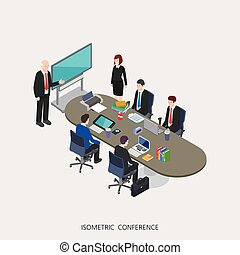 Flat 3d isometric vector illustration conference concept design, Abstract urban modern style, high quality business series.