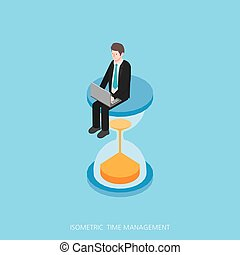 Flat 3d isometric vector illustration time management concept design, Abstract urban modern style, high quality business series.