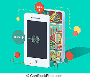 Huge smartphone - Flat 3d web isometric infographic social...
