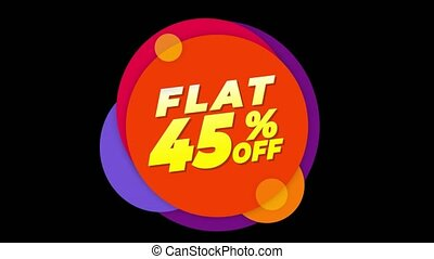 Flat 45% Percent Off Text Flat Sticker Colorful Popup...