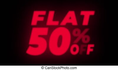 Flat 50% Percent Off Text Flickering Display Promotional...
