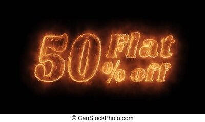 Flat 50% Percent Off Word Hot Animated Burning Realistic...