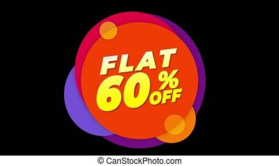 Flat 60% Percent Off Text Flat Sticker Colorful Popup...