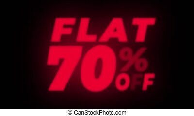 Flat 70% Percent Off Text Flickering Display Promotional...