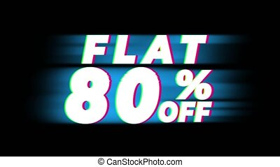 Flat 80% Percent Off Text Vintage Glitch Effect Promotion ....