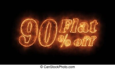 Flat 90 Percent Off Word Hot Animated Burning Realistic Fire Smoke Seamlessly loop Animation on Isolated Black Background. Fire Word, Fire Text, Flame word, Flame Text, Burning Word, Burning Text.