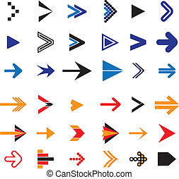 Flat abstract arrow icons or symbols vector illustration. The graphic contains 36 arrow signs and symbols in blue, red, orange and black colors & can be used in print, web pages, blogs, banners, etc