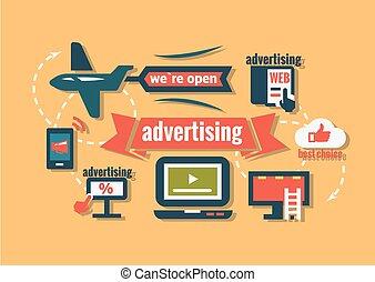 flat advertising icons set