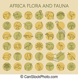 Flat African flora and fauna  elements. Animals, birds and sea life simple line icon set
