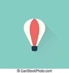 flat air balloon icon on blue background