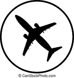 flat airplane icon isolated on white background