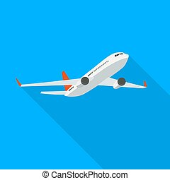Flat airplane icon on blue background. Vector Illustration